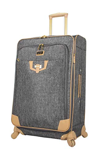 Nicole Miller New York Designer Luggage Collection - Large 28 Inch Expandable Softside Suitcase - Lightweight Checked Bag With 4-Rolling Spinner Wheels (Paige Silver)
