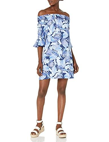 Caribbean Joe Women's Ruffle Off The Shoulder Casual Dress, Line Palm, Small