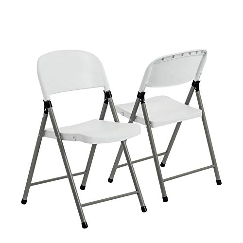 Harbour Housewares 4 Piece Heavy Duty Plastic Folding Chair Set - Easy Store Office Chairs Seating Events Arts and Crafts
