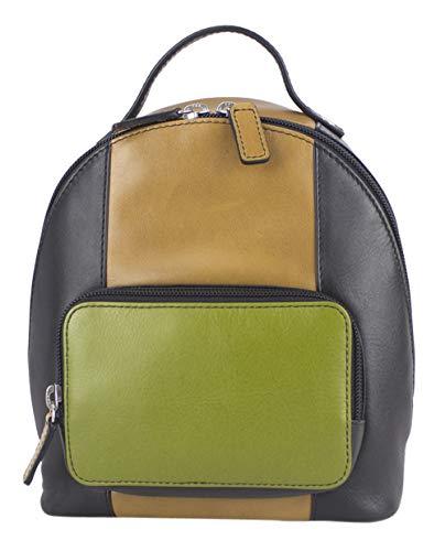 Sunsa Damen Kleiner Bunter Leder Rucksack Backpack Schultertasche Designer Mini Ranzen Daypack Trachtentasche Damentasche Crossbody Frauentasche upcycled Leder Tasche Mädchentasche Handtasche