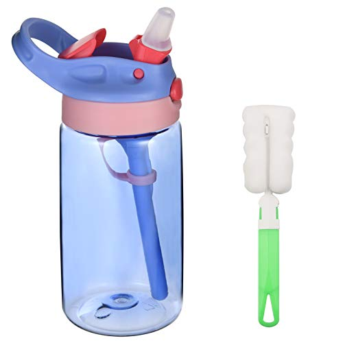 flintronic Borraccia Bambini, 480ML Borraccia con Cannuccia, Mini Bottiglia Acqua senza BPA, Bottiglia A Prova di Perdite, Borraccia Termica in plastica, Borraccia con Cannuccia Portabile-Viola