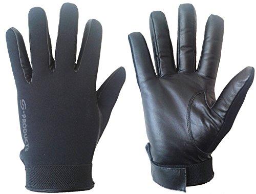 S-Products en Néoprène de sécurité Police Slash Résistance Combat Portier Gants en Cuir Noir L Noir