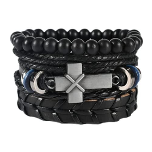 Pulseras, pulsera de varios niveles, hombres y mujeres, pulsera retro, cuero negro, ajustable, conjunto de pulseras