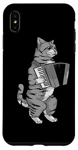 iPhone XS Max Funny Cat Playing Accordion | Cool Musician Harmonium Gift Case