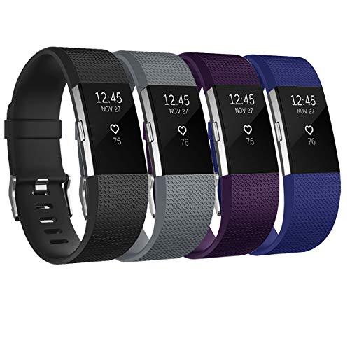 Fundro Armband Für Fitbit Charge 2, Weiches Verstellbare Silikon Sports Ersatz Armbänder für Fitbit Charge 2 Klein & Groß Damen & Herren,4pack,Large Small (B#4pack, Small)