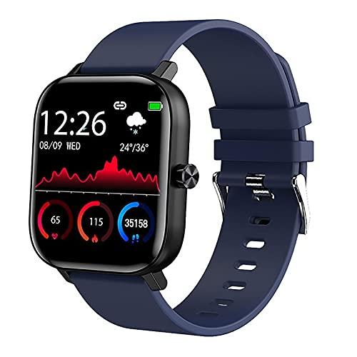 Reloj Inteligente 1.5 pulgadas Pantalla Táctil Completo con SpO2 Medición Respiración Frecuencia Cardíaca Estrés Sueño Monitoreo Control Música Azul,