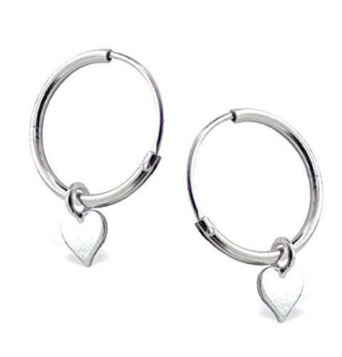 Katy Craig, Small Sterling Silver Hoop Gift Earrings with Dangling Love Heart Gift