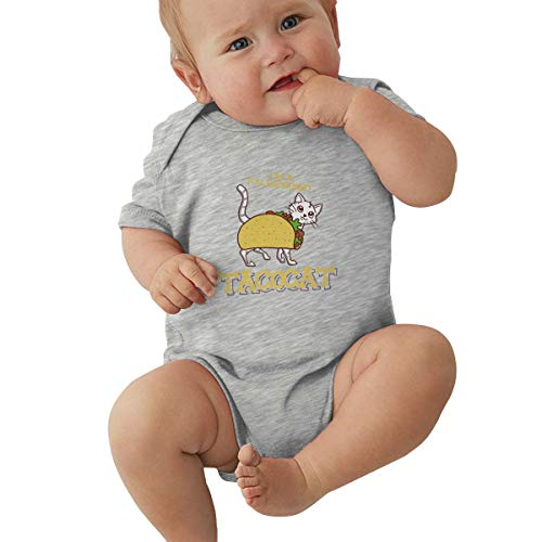 Taco Cat Baby Onesie Outfits Short Sleeve T-Shirt Bodysuit Romper for 0-24 Months Gray