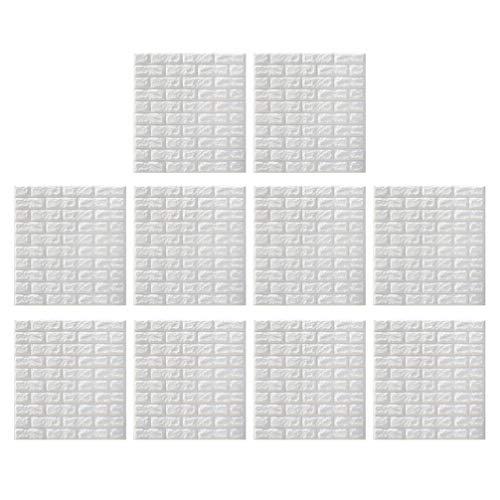 BESPORTBLE 10 Piezas de Papel Pintado Autoadhesivo de Ladrillo Pelar Y Pegar Paneles de Pared 3D Falso Ladrillo 3D Papel Tapiz Texturizado Azulejos de Ladrillo para Sala de Estar Cocina