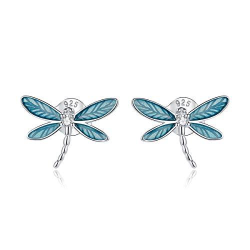 GDDX Plata de ley Retro lindo copo de nieve Ángel árbol de la vida gato lagarto mariposa libélula zorro Animal pendientes joyería para mujer (espárragos de libélula)