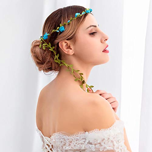 Simsly Corona de flores bohemias para vacaciones, guirnalda de boda, diadema, accesorio para el pelo floral para mujeres y niñas (azul)