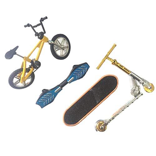 nbvmngjhjlkjlUK Dedo Bicicleta Dedo Patineta Juego De Juguete Bicicleta + Patineta + Tabla De Vitalidad + Scooter (Amarillo)