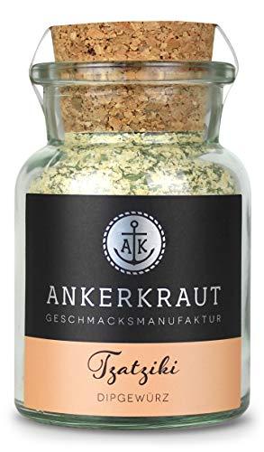 Ankerkraut Tzatziki, griechische Dip-Gewürzmischung für Mezedes, Kartoffelspalten, Brot, Gyros und Souvlaki, 100g im Korkenglas