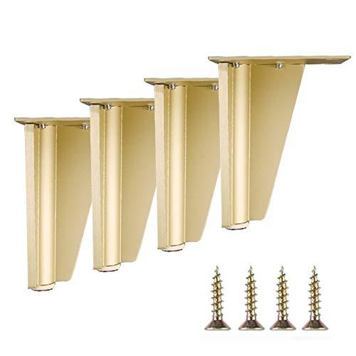 GYF 4 Piezas Patas De Muebles, Pies De Muebles De Aleación De Aluminio Altura Ajustable con Pies Engrosados para Sofás, Camas, Sillones, Mesas (Color : Golden, Size : 90mm)