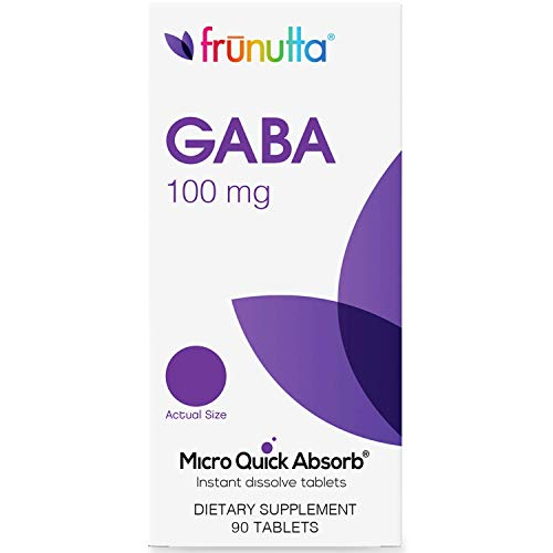 Frunutta GABA 100 mg, Supports Positive Mood, Relaxation and Mental Focus, 90 Under The Tongue Instant Dissolve Tablets, Proudly Made in USA
