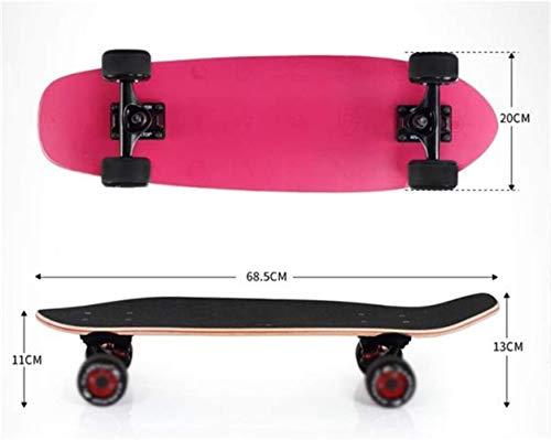 Woodtree Skateboard Patineta Cruiser Completa, 27 X 7.8 Pulgadas con ABEC 9 con Ruedas de 7 Capas Skateboards Retro Maple Deck for ni?os, ni?os, ni?as, jóvenes y Principiantes,Color:C (Color : B)