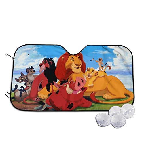 Cartoon Simba Lion King Windshield Sunshades Car Sunshades Foldable Sun Shades Visor Shield Cover with Suction Cups,Car Windshield Uv Rays Protector S