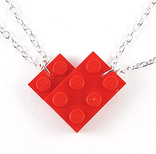 Friendship Heart Necklace set made with Toy Building Bricks plates