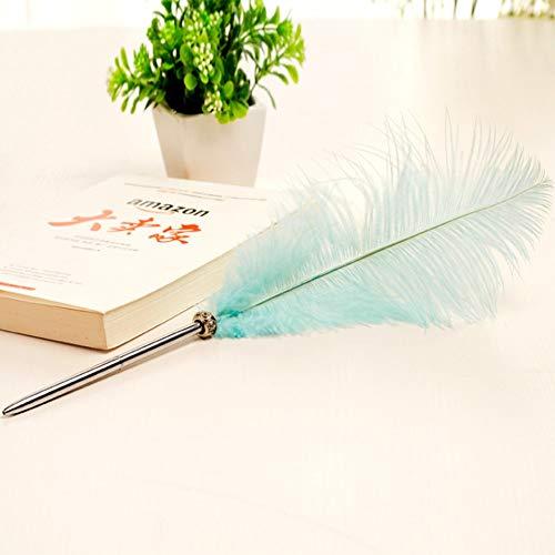 XKMY Pluma límite de bolígrafo muestra hermosos bolígrafos de plumas para escribir artículos escolares artículos baratos lindos Kawaii Pen Papelería (color azul lago)