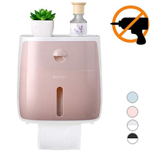 Toilettenpapierhalterung Selbstklebend Ohne Bohren mit Ablage Schublade Rollenhalter Saug für Bad und Küche (Rosa)
