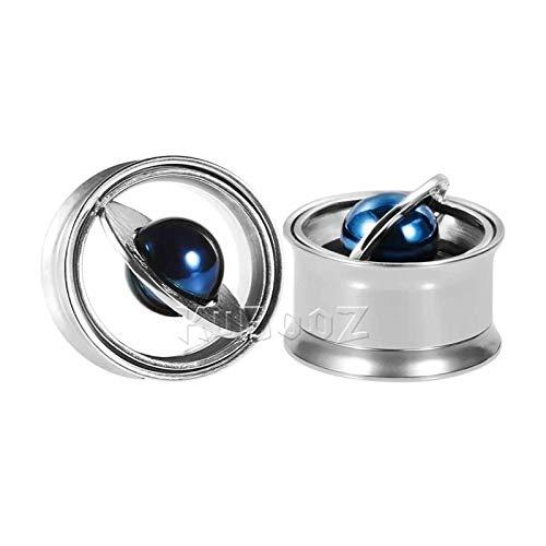 GSZP XF - Tapones para los oídos, expansor, expansor, medidores de carne, pendientes de moda, planeta, joyería corporal, regalo (color plateado, tamaño: 10 mm)