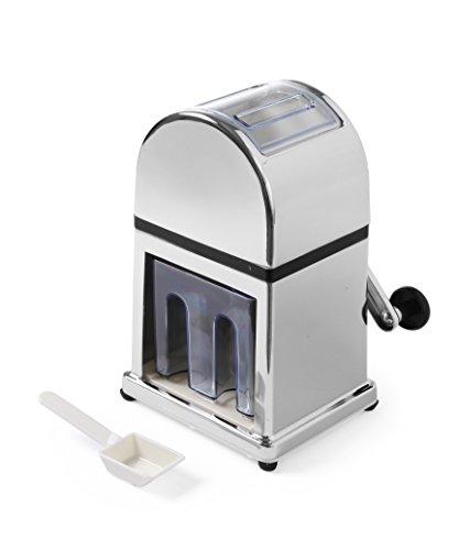 HENDI Eiswürfelzerkleinerer, mit Edelstahlmesser und entnehmbarem Behälter, Eiswürfelschaleeinfache, Eiskugelform, 160x140x(H)270mm, Edelstahl