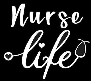 ملصق SixtyTwo24 Nurse Life مقاس 5 بوصات {أبيض}- ممرضة مسجلة، RN، R.N، LPN، ممارسي الممرضات، CNA، ملصق العناية الصحية، حياة...