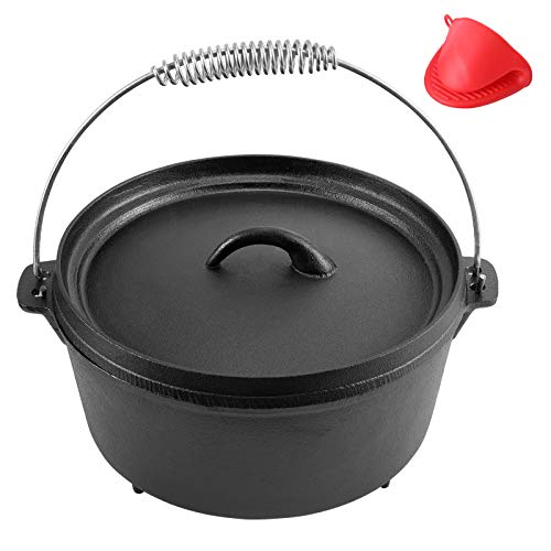 Cast Iron Dutch Oven Pre-seasoned Pot with Lid Lifter Handle, 5 Quart Camp Cookware Pot with Silicone Handles for Camping Cooking, BBQ, Basting, or Baking, Grey