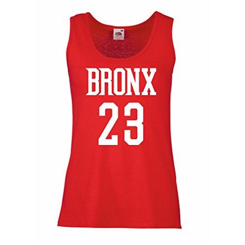 lepni.me Damen Tank-Top Bronx 23 Freestyle, New York City Sport Stil Mode Kleidung (Small Rot Weiß)