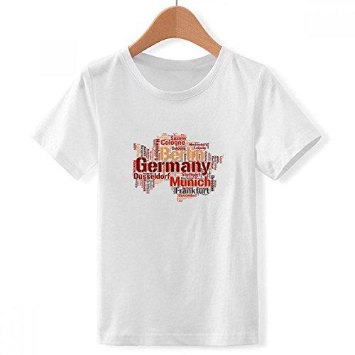 DIYthinker jongens Duitsland stad naam map art patroon ronde hals wit T-shirt