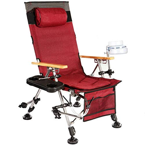 ch-AIR Chaise De Pêche Multifonctionnelle Chaise De Plage Confortable (Color : Red)