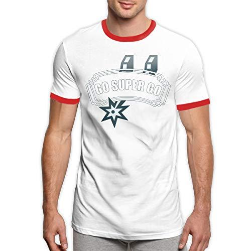 MiiyarHome Men's Ringer T-Shirt Manu Ginóbili, Men Short Sleeves Jersey Causal Tee Red L