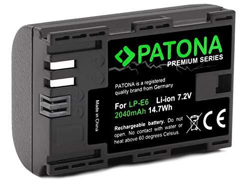 PATONA Premium LP-E6 Ersatz für Akku Canon - Intelligentes Akkusystem - Canon EOS 60D 60Da 70D 80D 5D Mark II III 6D 7D Mark II