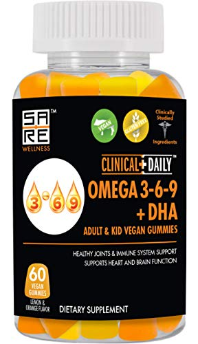 Vegan Omega 3 6 9 Fatty Acids DHA with Chia Oil Gummy Supplement. Advanced Formula for Heart, Brain, Immune System, Joint Support, Mood, Eye Health. 60 Ct Gluten Free Gummies, Lemon and Orange Flavor