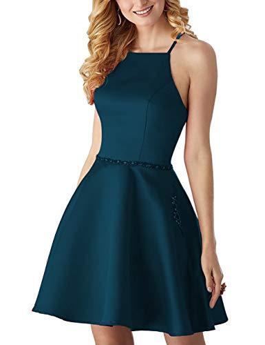 HUINI Cocktailkleid Vintage Abendkleider Hochzeitskleider Knielang Satin Ballkleider Neckholder Sommer Partykleider Tintenblau 46