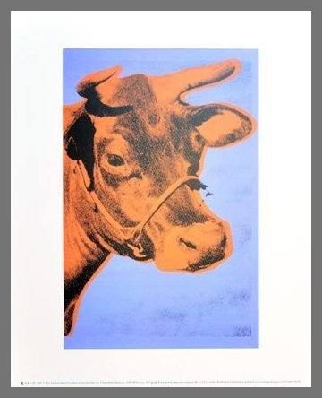 Germanposters Andy Warhol Cow Kuh 1971 Purple & orange Poster Kunstdruck Bild im Alu Rahmen Champagne 42x34cm