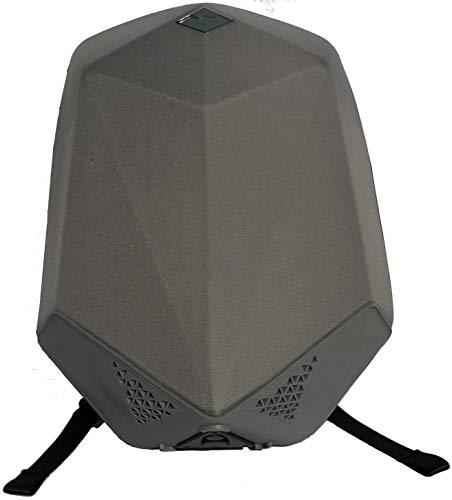bbom 0818112240Música Mochila (de pa/Nailon), Dos Bluetooth–Altavoces HiFi y una Power Banco Integrado, Anti Robo de Cremallera, Impermeable Exterior Gris