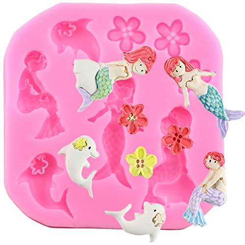 MJOEPR Bautizo Mermaid Tail Molde De Silicona Fondant Cupcake Cake Decorating Herramientas para Hornear Molde De Jabón Hecho A Mano Fish Fork Tail