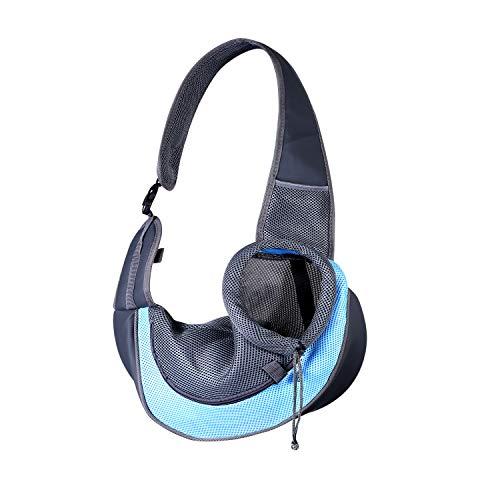 Haustier-Tragetasche, Hundetragetasche, verstellbar, atmungsaktiv, für Katzen und Welpen, für Spaziergänge, Reisen und den täglichen Gebrauch, Größe S, Blau