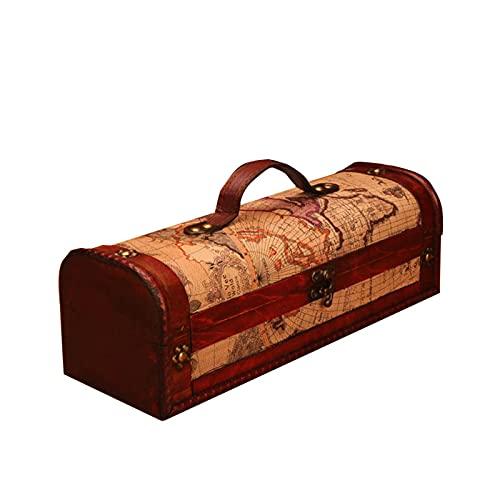 Huangjiahao Caja de madera de vino grande vintage sola caja de vino tinto caja de almacenamiento de madera Mapa joyero con cerradura para Año Nuevo caja de regalo regalo para boda