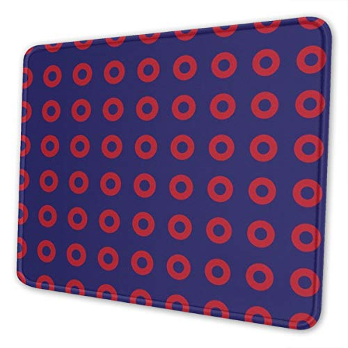 Mouse Pad Phish Red Donut Circles On Blue Gaming Mat Customized Non-Slip Rubber Base Stitched Edges for Office Laptop Computer