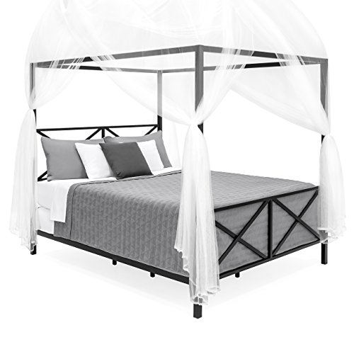 Best Choice Products 4-Corner 98in Decorative Canopy Drape Mosquito Net Insect Screen for All Bed Sizes - White