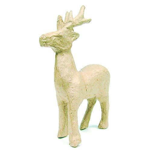 Décopatch NO735O Rentier aus Pappmaché, 11,5 x 3,5 x 13,5 cm, zum Verzieren, perfekt für Weihnachtsdeko, Kartonbraun