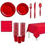 Vajilla de decoración de fiesta en 5 colores diferentes - Para 20 invitados vasos, platos y servilletas, cubiertos y manteles (Style 1)