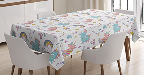 "Ambesonne Unicorn Tablecloth, Magic Unicorn Forms with Colorful Cartoon Fantasy Cloud and Rainbow Pattern Print, Dining Room Kitchen Rectangular Table Cover, 52"" X 70"", Seafoam"