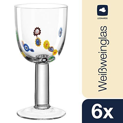 Leonardo wittewijnglazen Millefiori, set van 6 wijnglazen in bloemenstijl, elegante witte wijnkelk 160 ml inhoud, 053842