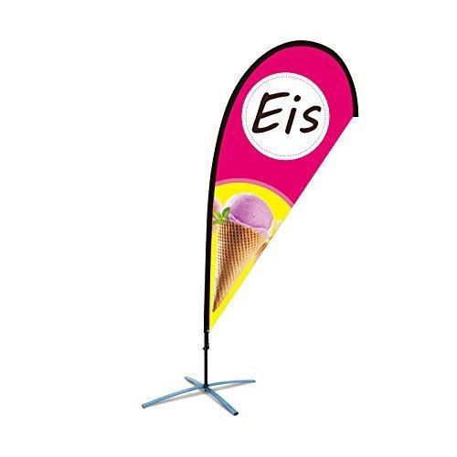 Beachflag Eis über 2m hoch Reklame Eisdiele Werbefahne Werbung Flagge Rot/Gelb Tropfenform mit Bodenhaltung