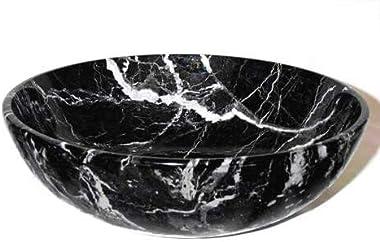 Khan Imports Large Black Marble Fruit Bowl, Decorative Stone Bowl Centerpiece - 12 Inch