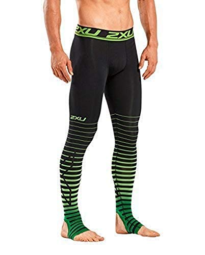 2XU Men's Elite Power Recovery Compression Tights, Black/Green, Medium