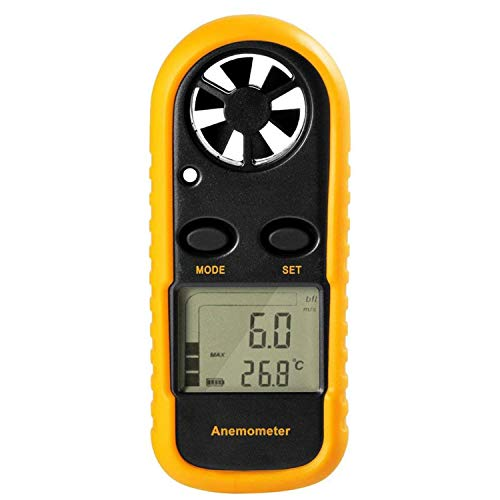 Liseng Gm816 Palmare Anemometro Tascabile Digitale Con Display a Cristalli Liquidi Per La Misurazione Della Velocità Del Vento, Della Temperatura E Del Freddo (Giallo Nero)